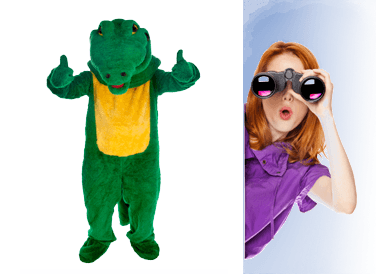 alligator costume and woman with binoculars