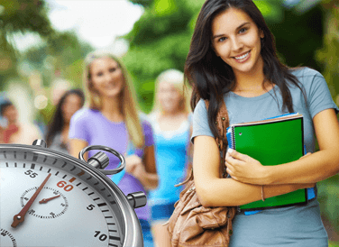 Female student and closeup of stopwatch